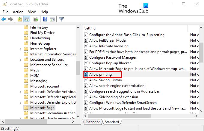 Activer ou désactiver l'impression dans Microsoft Edge sous Windows 10