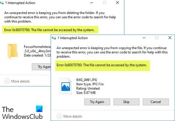 Erreur 0x80070780 - Le fichier n'est pas accessible par le système