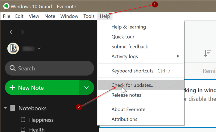 Evernote ne s'ouvre pas ou ne fonctionne pas dans Windows 10 pic3