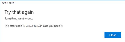 Correction de l'erreur de Microsoft Store 0xc03f40c8