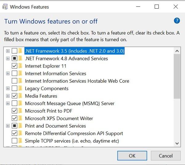 Fonctionnalités optionnelles de Windows 10