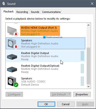 Audio haute définition NVIDIA non branché