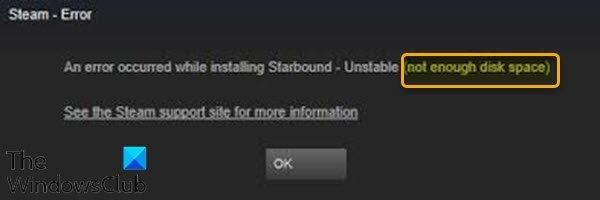 Espace disque insuffisant - Erreur Steam