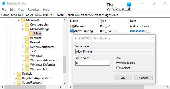 Impression dans Microsoft Edge sous Windows 10
