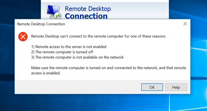 Le bureau distant ne peut pas se connecter à l'ordinateur distant
