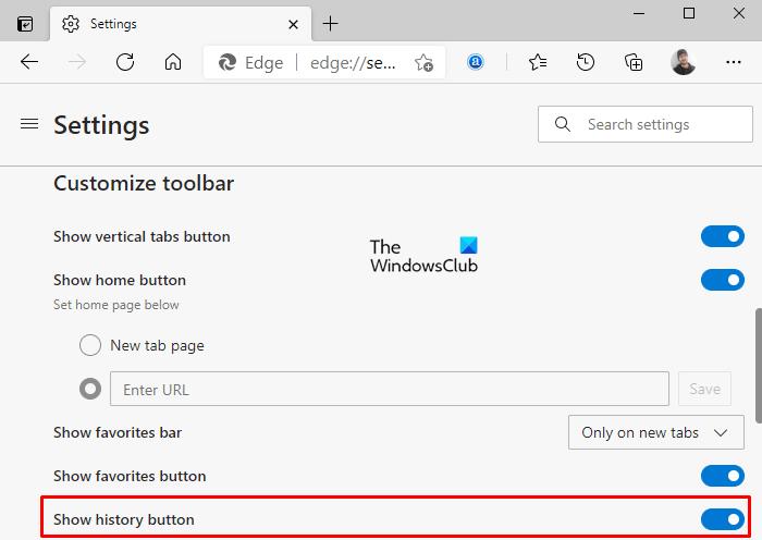 Afficher ou masquer le bouton Historique sur la barre d'outils dans Microsoft Edge