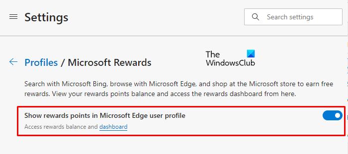 Afficher ou masquer les points de récompense Microsoft dans le profil Edge