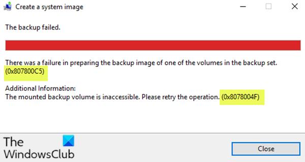 Codes d'erreur de sauvegarde d'image système 0x80070002, 0x807800C5, 0x80780081, 0x8078004F