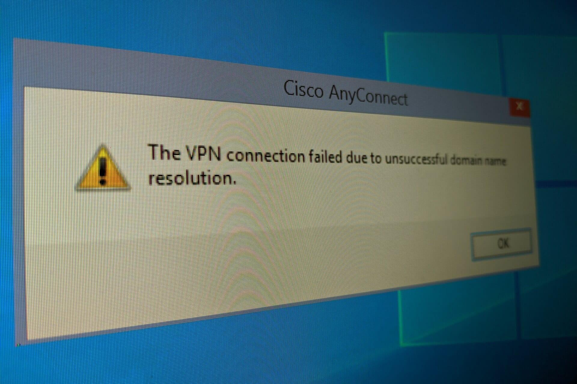 réparer le VPN a échoué en raison d