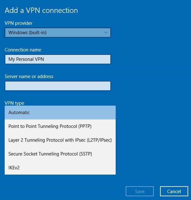 Ordinateur portable VPN de type VPN