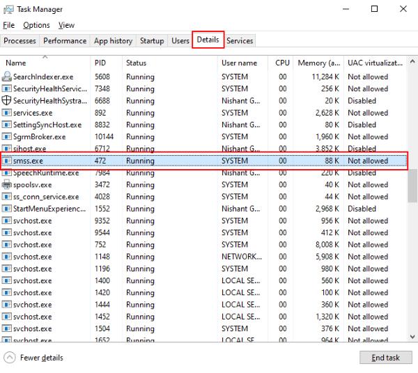 Qu'est-ce que le processus SMSS.exe dans Windows 10