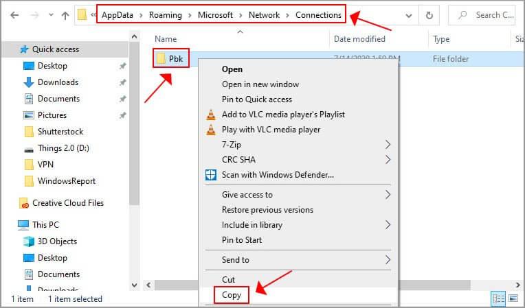 copier le dossier Windows 10 Pbk