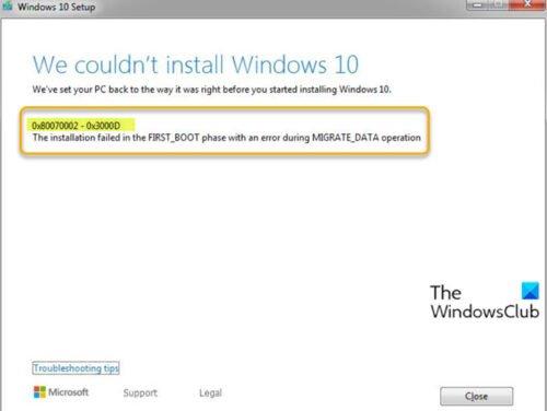 Erreur d'installation de la mise à niveau Windows 10 0x80070002 - 0x3000D