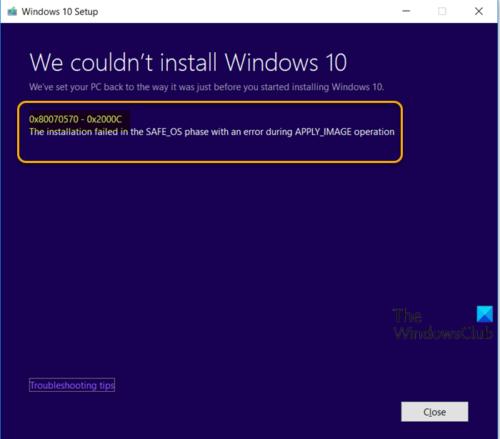 Erreur d'installation de la mise à niveau Windows 10 0x80070570 - 0x2000C
