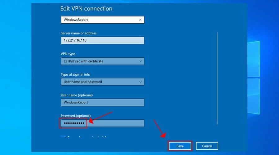 définir le mot de passe VPN dans Windows 10