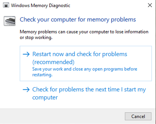 Diagnostics de la mémoire Windows