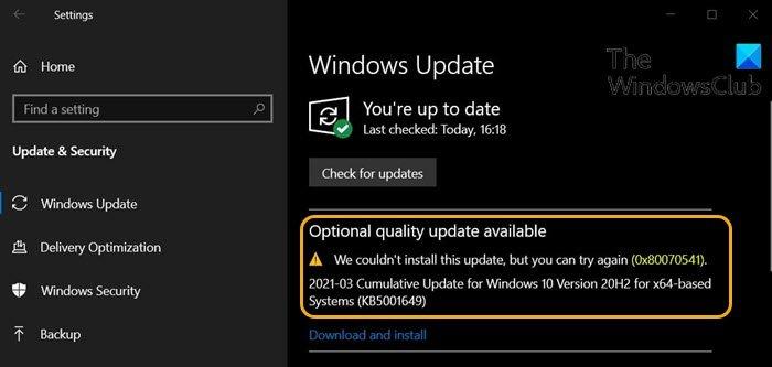 Erreur de mise à jour Windows 0x80070541