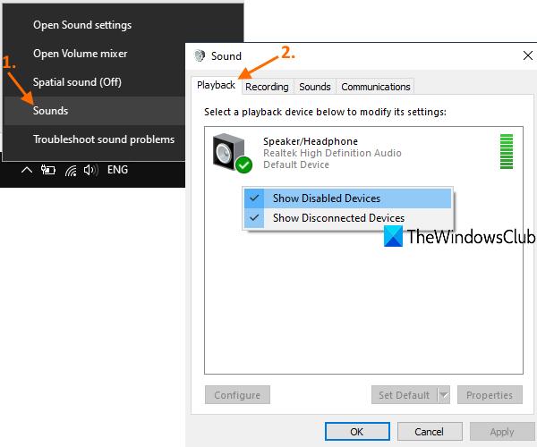 accéder à l'onglet de lecture dans la fenêtre audio et définir le périphérique de sortie par défaut