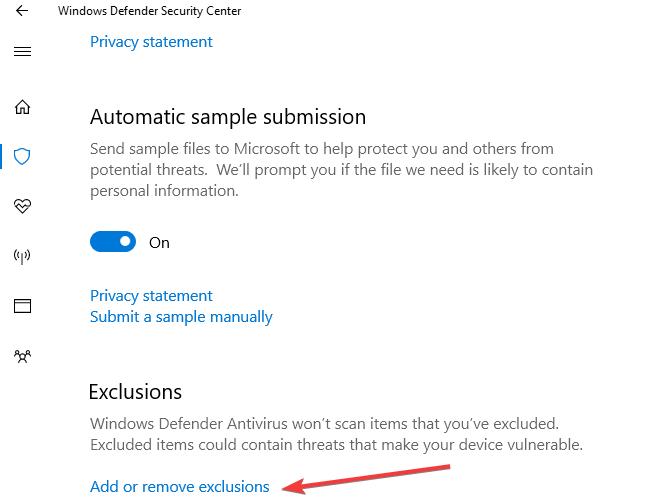 ajouter l'exclusion de Windows Defender