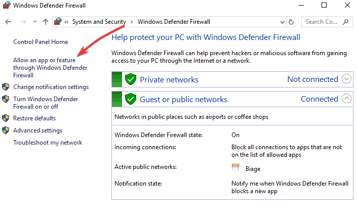 VPN bloqué par le pare-feu Windows