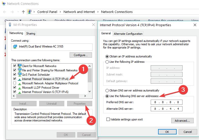 modifier les paramètres DNS