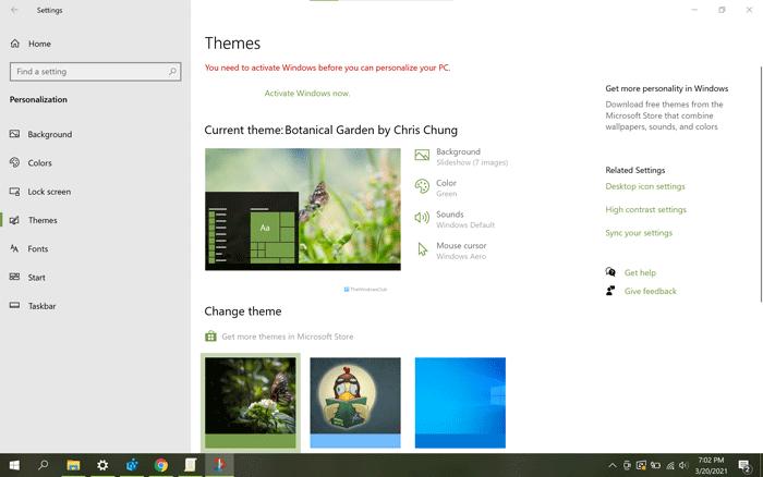 Comment changer de thème dans Windows 10 sans activation