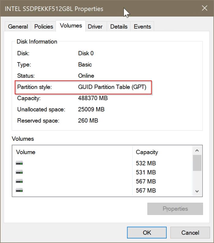 vérifier si un disque est GPT ou MBR dans Windows 10 pic3