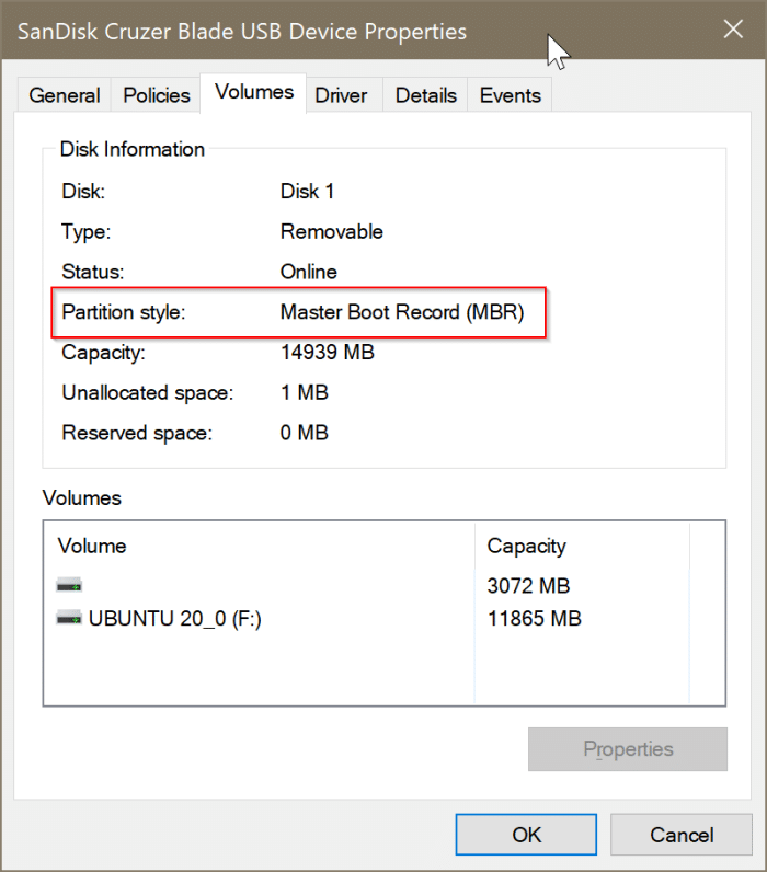 vérifier si un disque est GPT ou MBR dans Windows 10 pic4