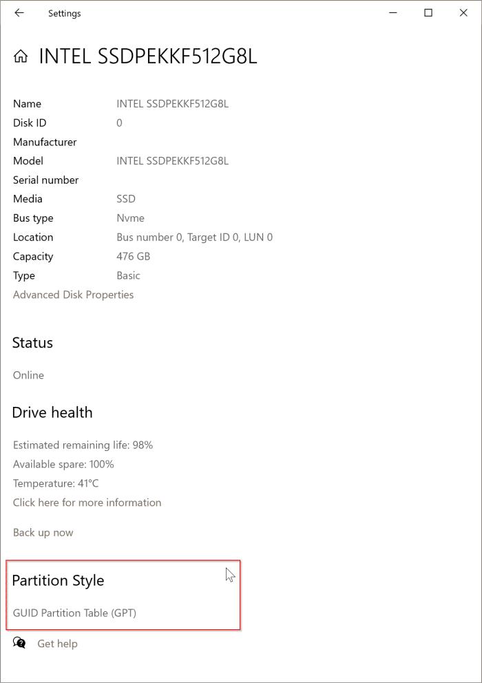 section.  La section Style de partition s'affiche si votre disque sélectionné est une table de partition GUID (GPT) ou MBR.