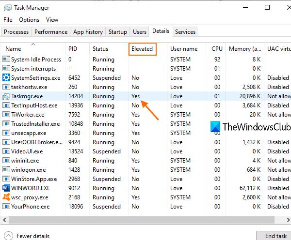 vérifier si un processus est en cours d'exécution avec des droits d'administrateur dans Windows 10