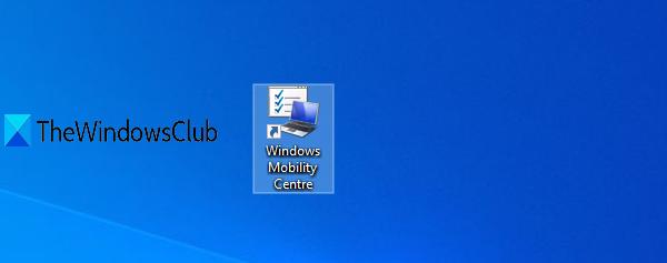 créer un raccourci Windows Mobility Center