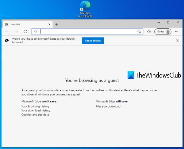 créer un raccourci de profil d'invité pour Microsoft Edge
