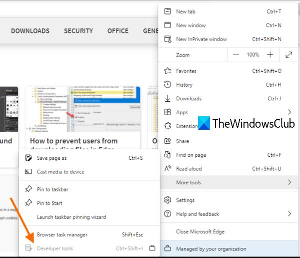 désactiver les outils de développement Microsoft Edge