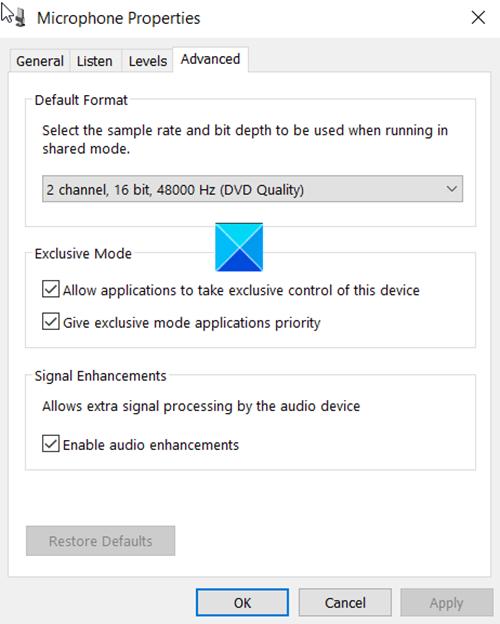 Désactiver les améliorations audio