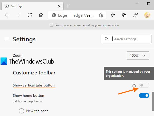 désactiver les onglets verticaux dans Microsoft Edge