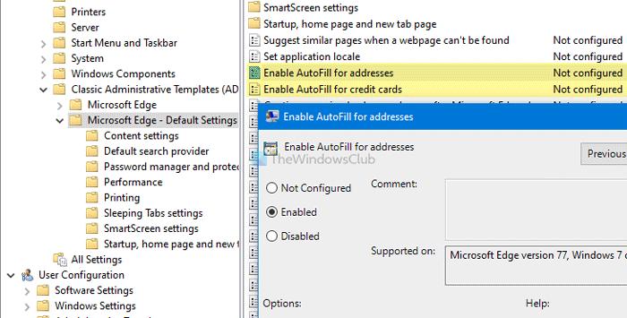 Comment activer ou désactiver la saisie automatique pour les adresses et les cartes de crédit dans Edge