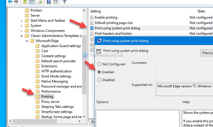 Comment activer ou désactiver la boîte de dialogue d'impression système dans Edge