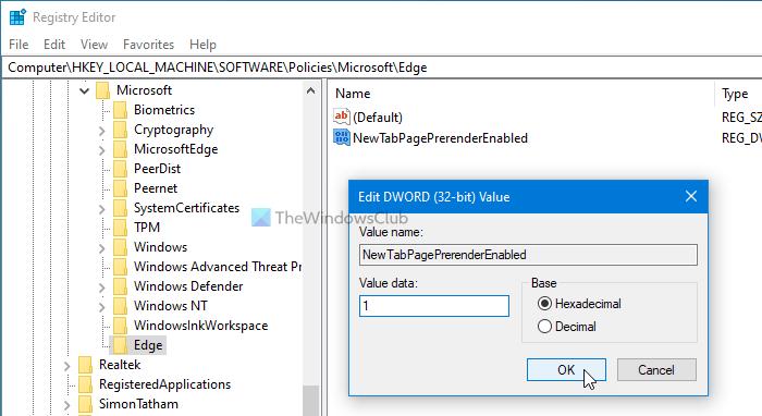 Comment activer la nouvelle page à onglet de préchargement sur Edge à l'aide du registre