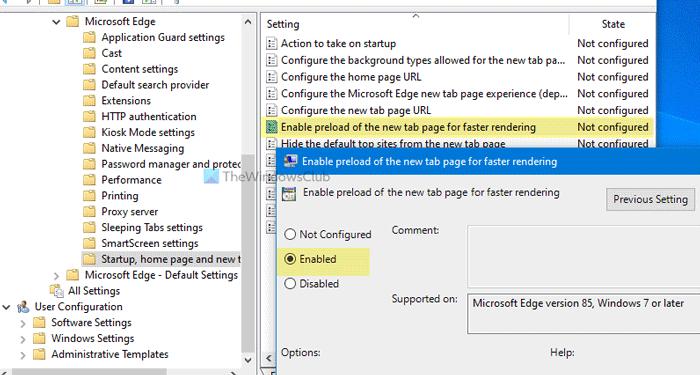 Comment activer la nouvelle page à onglet de préchargement sur Edge à l'aide de la stratégie de groupe
