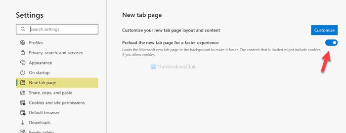 Comment activer ou désactiver la nouvelle page à onglet de préchargement sur Edge