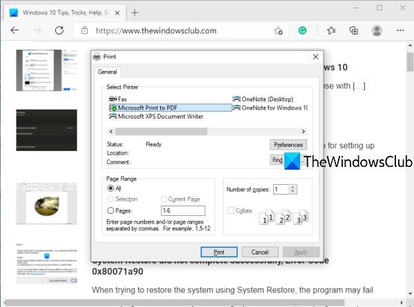 Activer la boîte de dialogue d'impression système dans Microsoft Edge