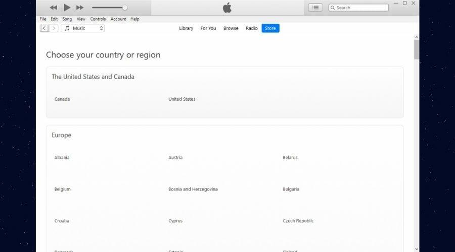 Liste des régions iTunes