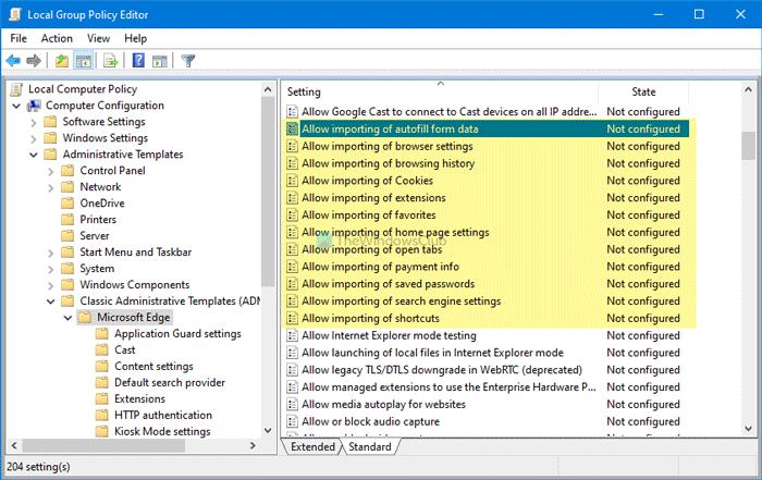 Comment empêcher les utilisateurs d'importer des données d'autres navigateurs dans Edge