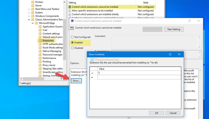 Empêcher les utilisateurs d'installer des extensions dans Edge