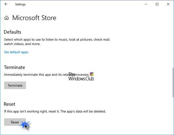 Réinitialiser le Microsoft Store