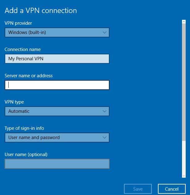 nom ou adresse du serveur VPN pour ordinateur portable Windows 10