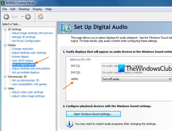 configurer l'audio numérique dans le panneau de configuration NVIDIA