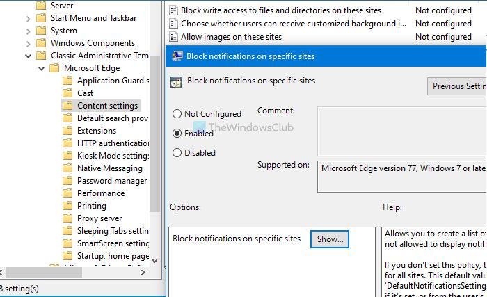 Comment désactiver les notifications push du bureau Microsoft Edge