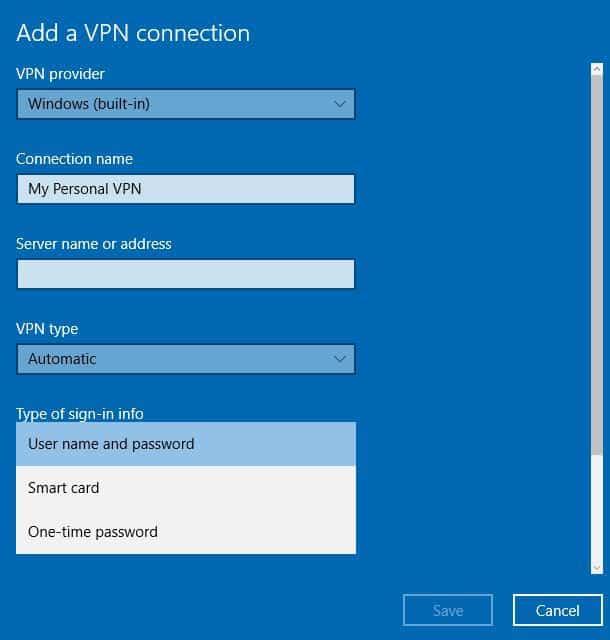 type d'informations de connexion VPN pour ordinateur portable