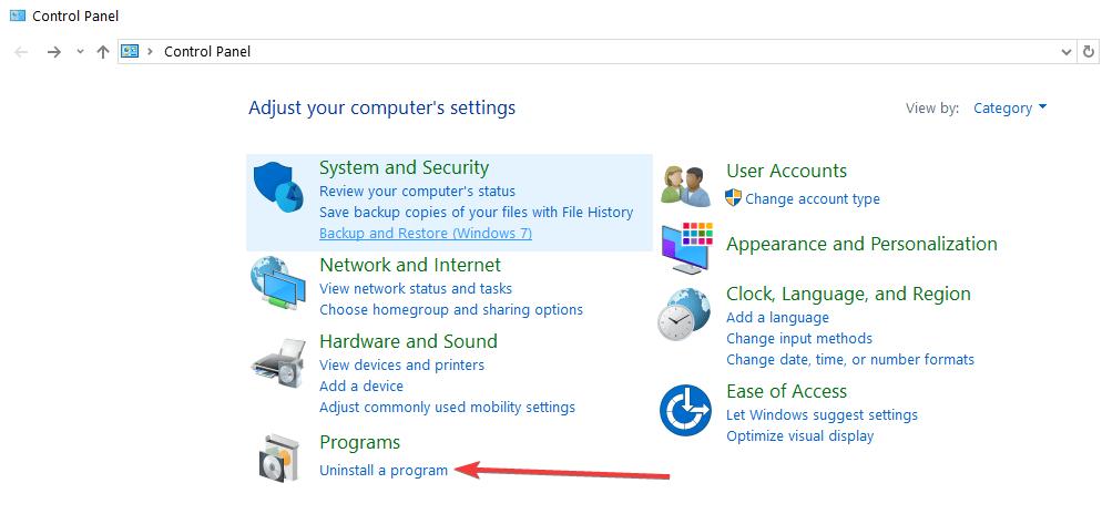 désinstaller le panneau de configuration du programme windows 10